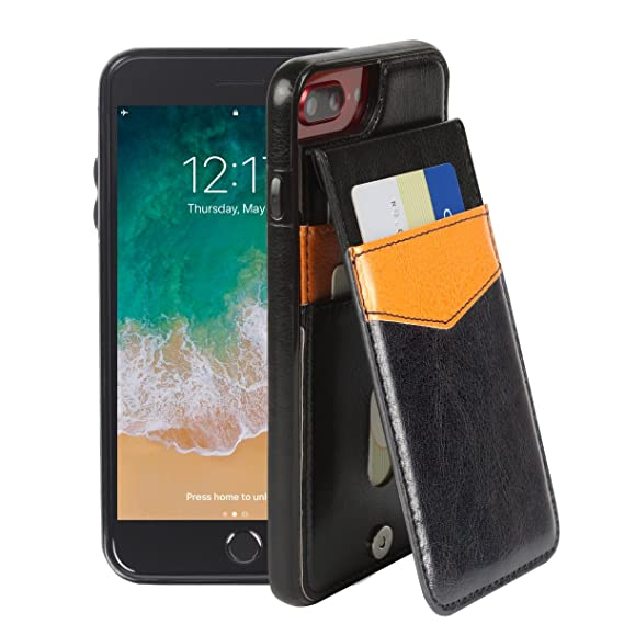 promo code a92a4 fdb7c Basecent iPhone 8 Plus Case iPhone 7 Plus Wallet Case for Men, Slim  Silicone Case with Folio Magnetic Leather Wallet Back for iPhone 7P/8P,  Wallet ...