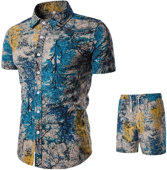 Amazon.com: Camisas de verano para hombre conjuntos de ...