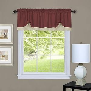 "Achim Home Furnishings, Marsala/Tan DRVL14MT12 Darcy Window Curtain Valance, 58"" x 14"""