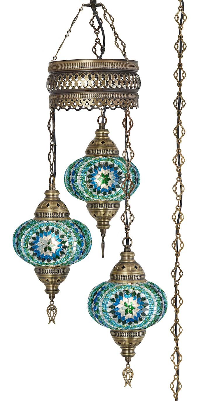 Demmex 2019 Turkish Moroccan Mosaic Hardwired OR Swag Plug in Chandelier with 15feet Cord Cable Chain 3 Big Globes Teal