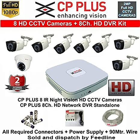 CP PLUS 8-CHANNEL DVR KIT WITH 2-TB HARD DISK , 1-PC 2.4MP DOME CAMERA , 7-PC 2.4MP BULLET CAMERA, 8-CH POWER SUPPLY ,WITH BNC/DC CONNECTORS & WIRE ROLL COMBO PACK. Dome Cameras at amazon