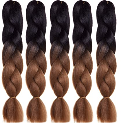 b0083f21 24 Inch Trenzas Jumbo Kanekalon extensión de cabello sintético 5pcs