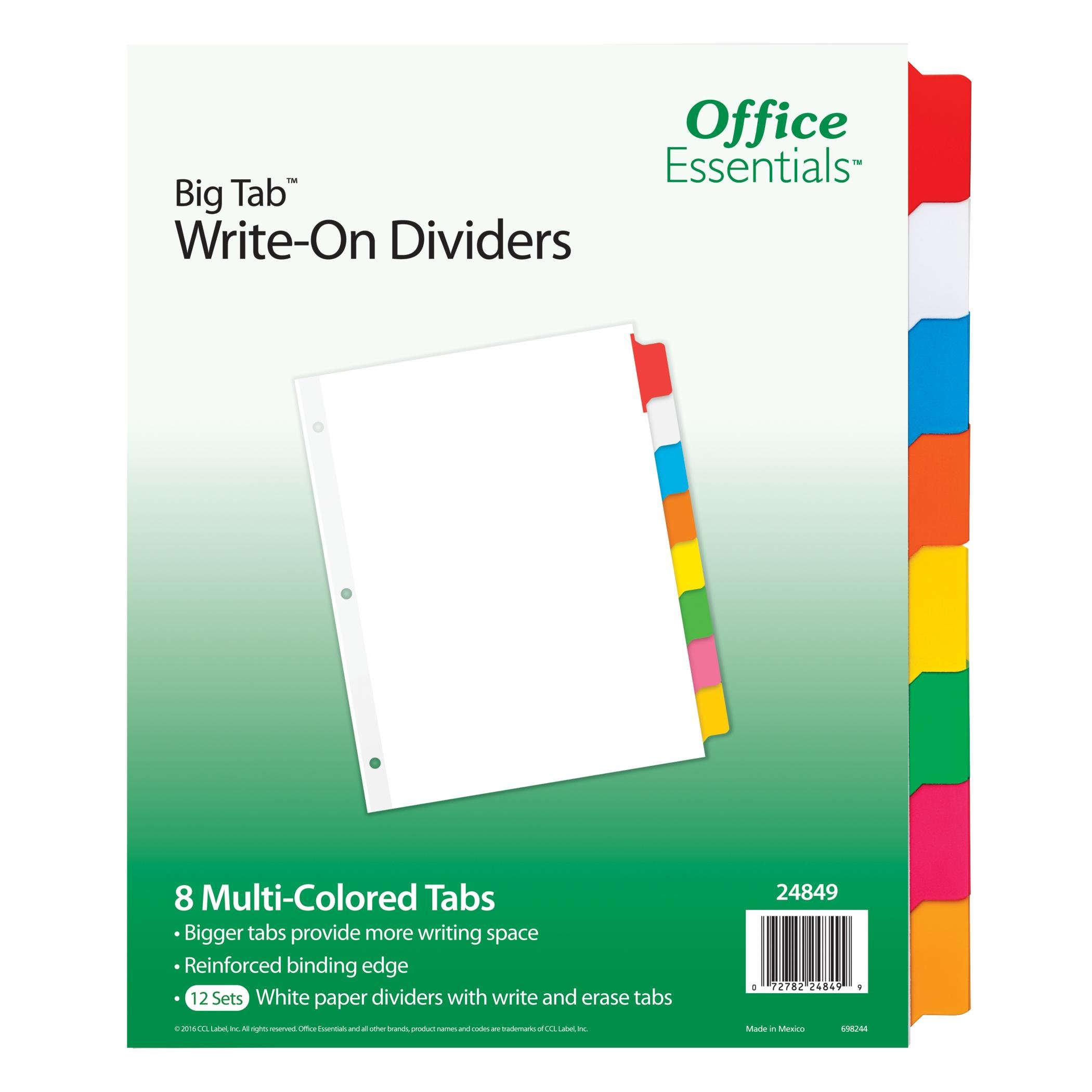 Office Essentials Big Tab Write-On Dividers, 8-1/2'' x 11'', 8 Tab, Multicolor Tab, 12 Pack (24849)