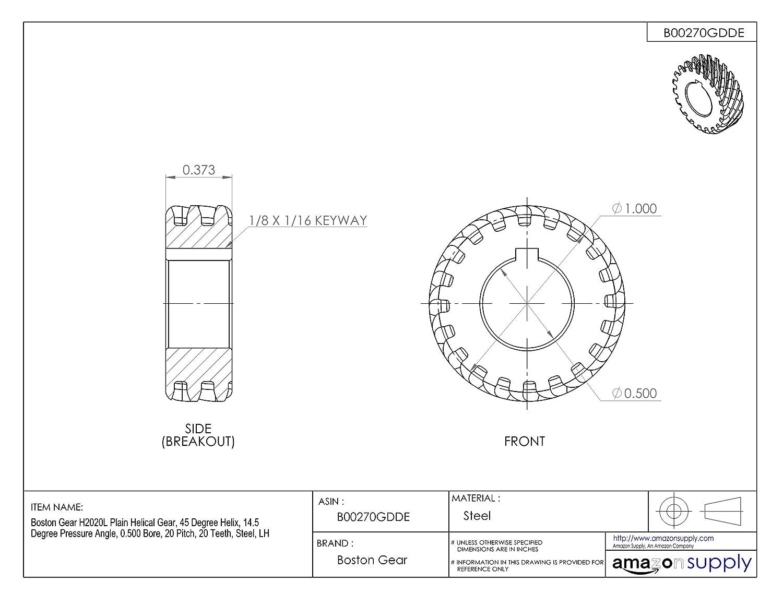 Web Boston Gear G1071LH Worm Gear 14.5 PA Pressure Angle 0.750 Bore LH 30 TEETH 30:1 Ratio