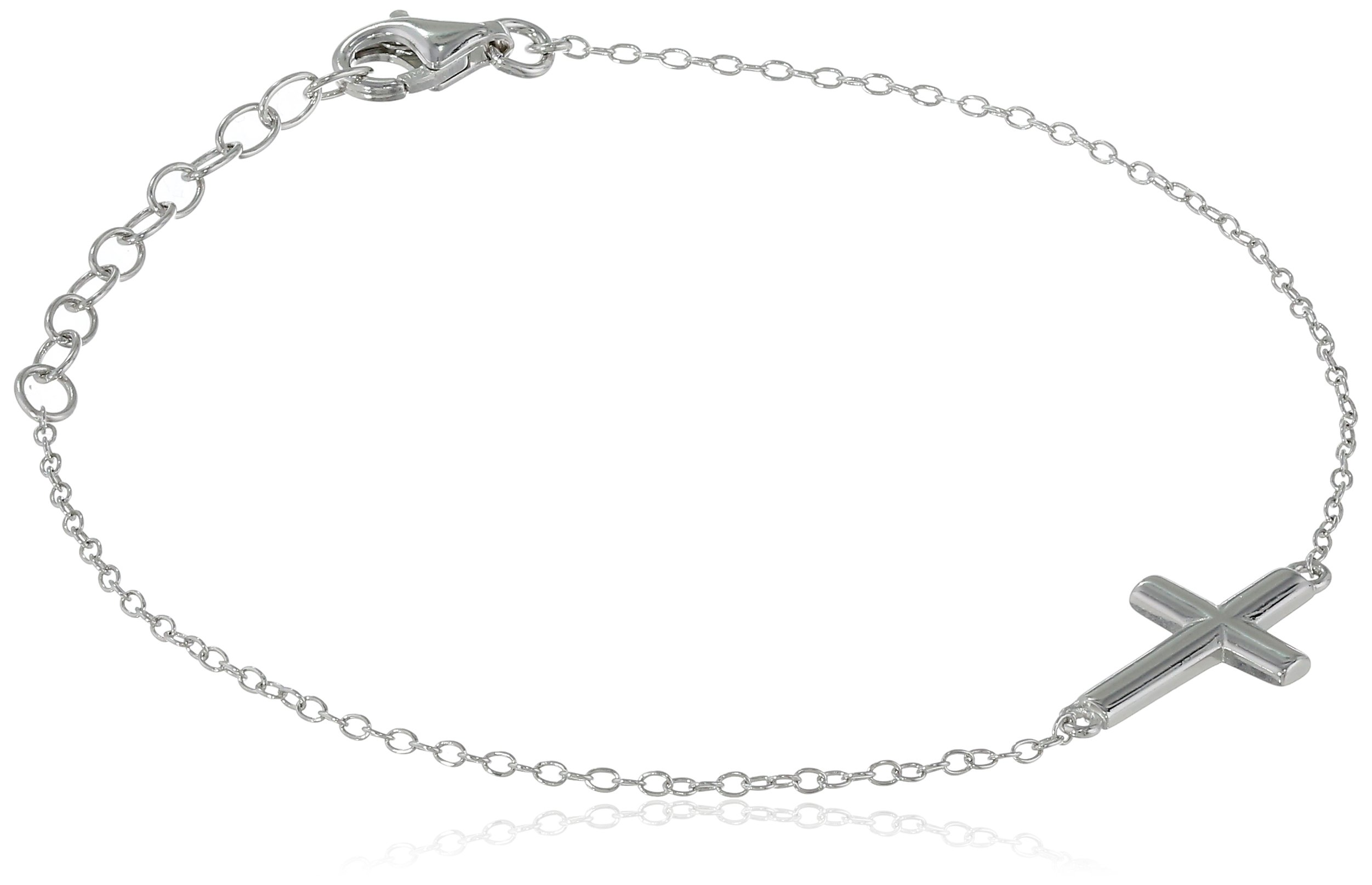 Sterling Silver Sideways Cross Bracelet, 6.25'' + 1.2'' Extender
