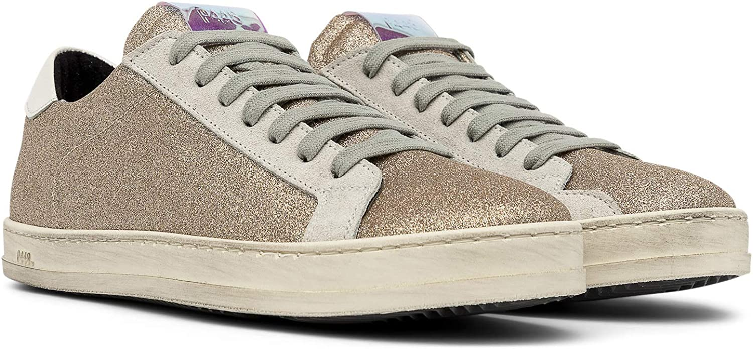 P448 John White Leather Low-Top Italian Sneaker Platinum Glitter