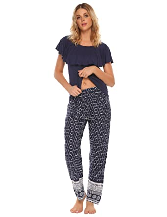 62ecb7396a Ekouaer Womens Pajamas Ruffle Top and Boho Printed Pajama Pants PJ Sets  (Blue