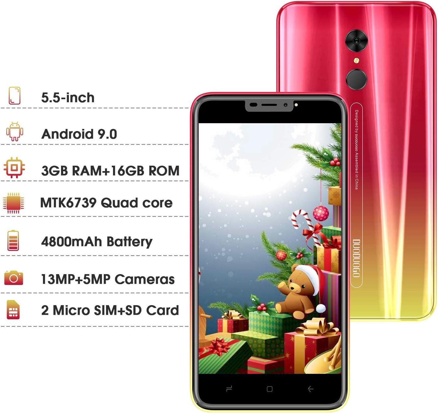 Moviles Libres 4G, Smartphone Libre Dual SIM 5.5 Pulgadas Android 9.0 Quad Core 3GB RAM+16GB ROM (Escalable 128 GB) Moviles 4800mAh Batería Cámara 13MP+5MP Moviles Buenos (Rojo): Amazon.es: Electrónica