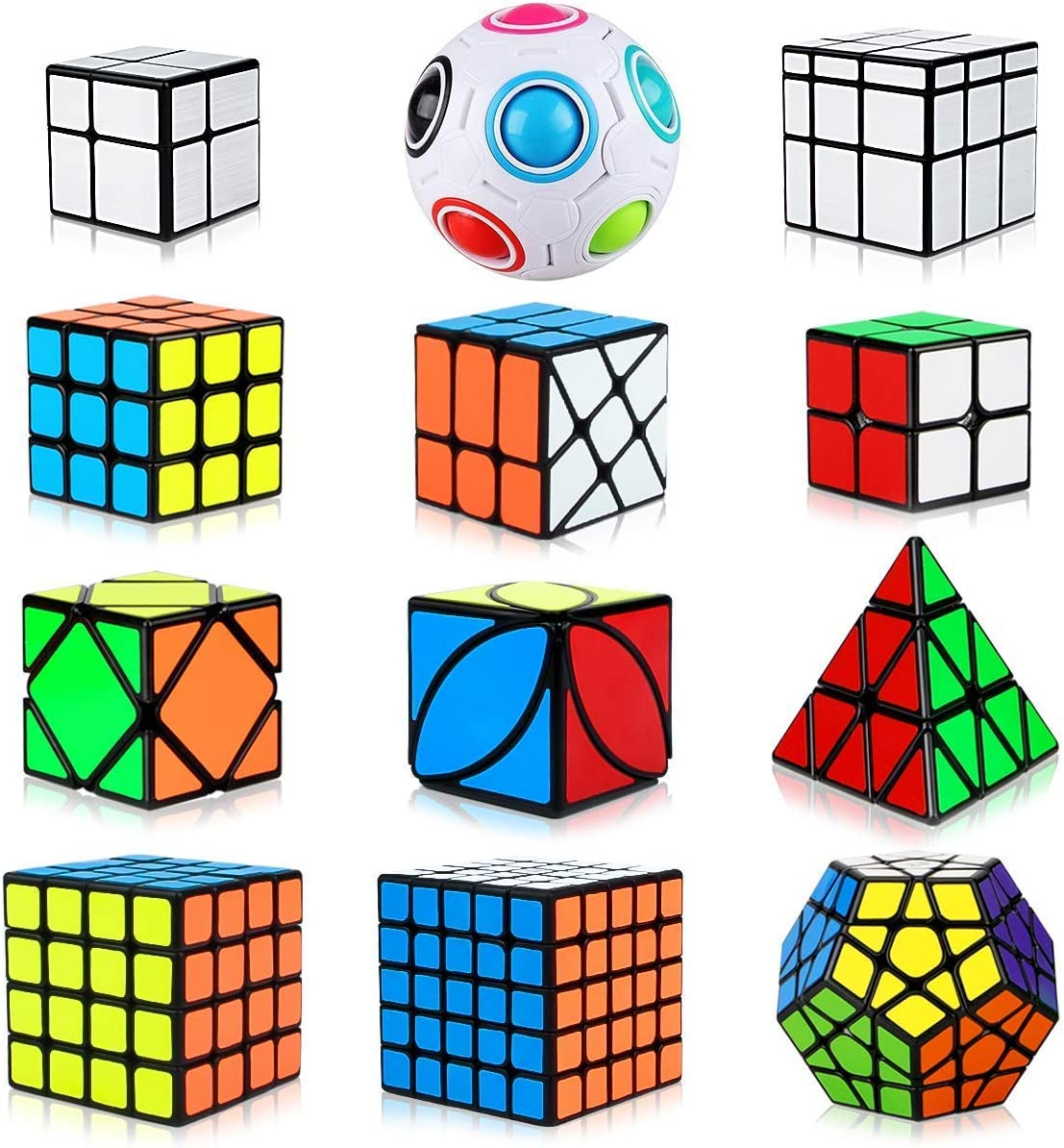 Aiduy Speed Cube Set 12 Piezas, Cubo Piramide Triángulo 2x2 3x3 4x4 5x5 Cubo Mágico Profesional, Cubo Megaminx + Cubo Skew Ivy + Cubo Mirror + Magic Rainbow Ball Speed Cube: Amazon.es: