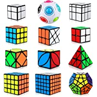 Aiduy Speed Cube Set, 12 Pack Magic Cube Bundle Pyramid Cube Triangle Cube 2x2 3x3 4x4 5x5 Megaminx Dodecahedron Cube Rainbow Puzzle Ball, Skew Ivy Mirror Cube Smooth Sticker Speedcube for Kids