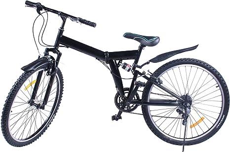 Bicicleta de montaña plegable Succebuy, de aleación de aluminio, con suspensión dual y medidas de 66 cm (6 velocidades Shimano): Amazon.es: Deportes y aire libre