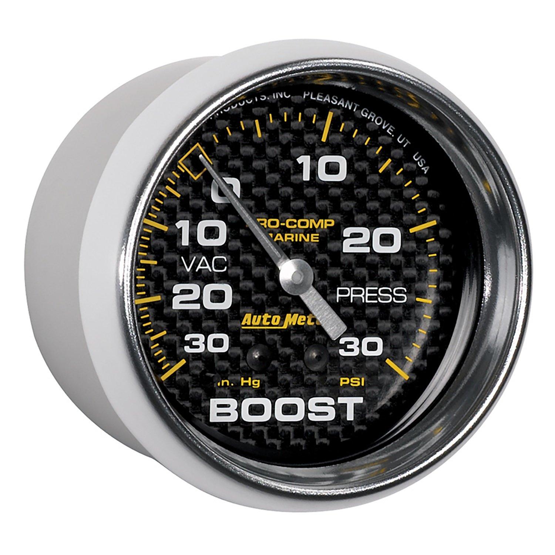 Mechanical Vac//Boost Marine Carbon Fiber Auto Meter AutoMeter 200775-40 Gauge 2 5//8 30Inhg-30Psi