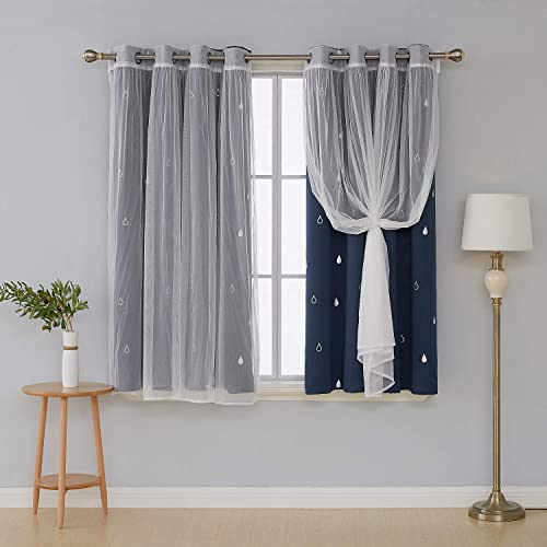 Deconovo Mix and Match Curtain Set 2 Pieces Raindrop Printed Navy Blackout Curtains and 2 Piece White Window Sheer Curtains for Living Room Navy Blue with Grommet Top 4 Curtain Panels 52W x 63L Inch