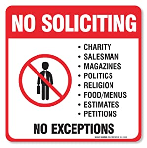 "(4 Pack) No Soliciting Sign""5½ X 5½"" 4 Mil Sleek Vinyl Decal Stickers Weather Resistant Long Lasting UV Protected and Waterproof Made in USA by SIGO SIGNS"