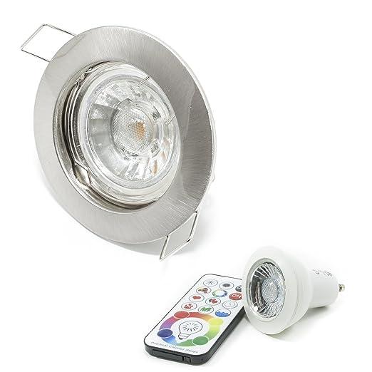 Foco empotrable para orificio de 6 cm, con bombilla led RGBW de 6 W, ...
