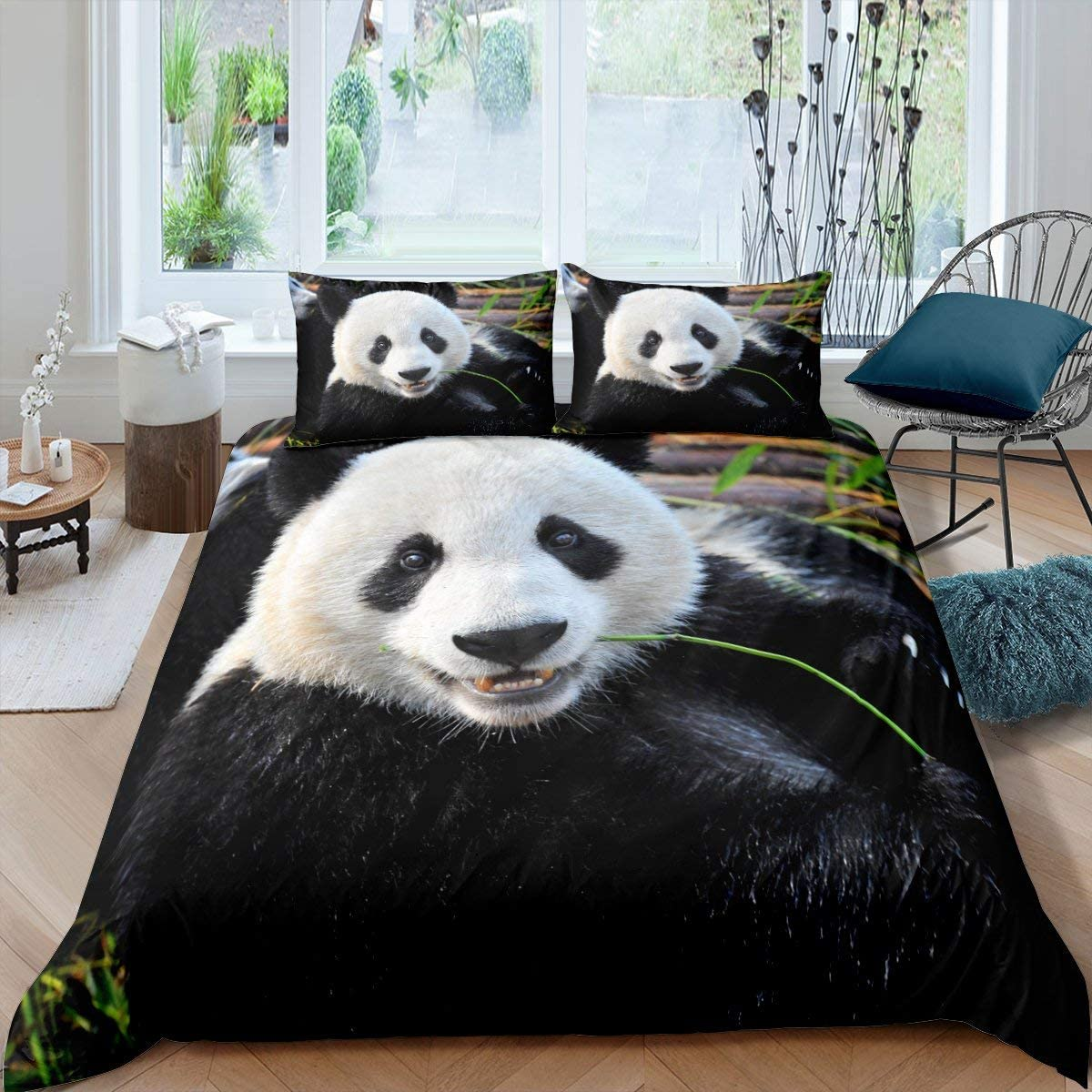 Erosebridal 3D Panda Comforter Cover Queen Size Cute Panda Duvet Cover Bamboo Bedding Set Black White Bear Quilt Cover for Kids Boys Girls Teens for Bedroom Decorative, Trendy Duvet Cover