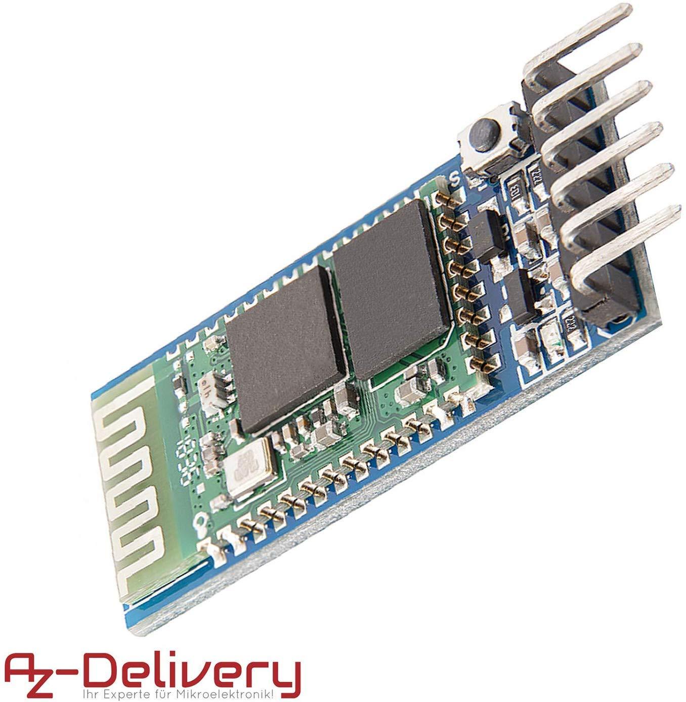 AZDelivery HC de 05 Bluetooth Wireless RF Modulo transceptor RS232 TTL de serie y HC de 06 inalámbrica Bluetooth Serial Transceiver módulo esclavo Comunicación Serial para Arduino con eBook incluido