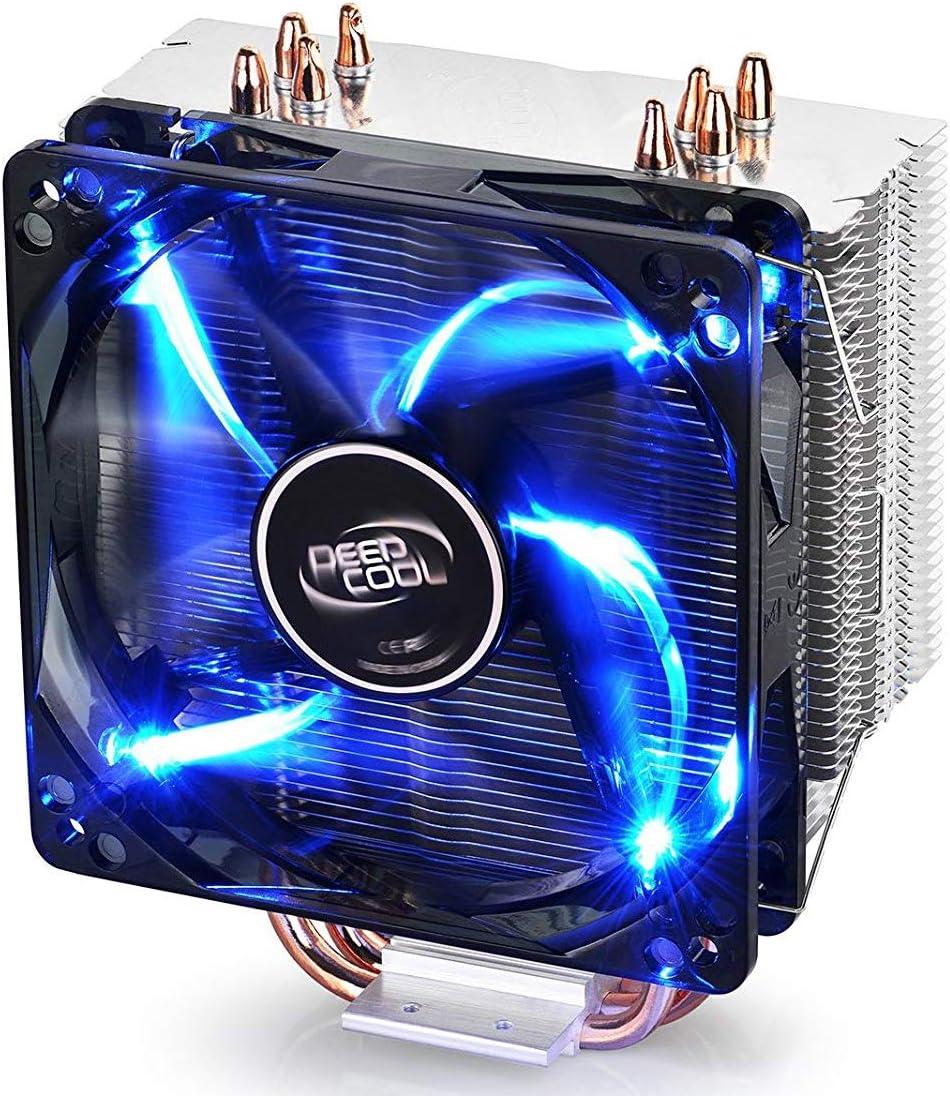DEEP COOL Gammaxx 400, Disipador de CPU con 4 Tubos de Calor, 120mm PWM CPU Ventilador LED Azul Silencioso,AM4 Compatible, Pasta Térmica Incluido
