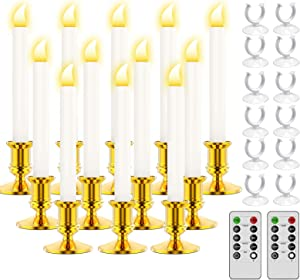 RONXS Window Candles,LED Candles with Timer, Outdoor Christmas Decorations Flameless Candles Battery Operated Flickering Candles with 1 Remote Controls, Glod Candle Holders (12 Pcs Gold)