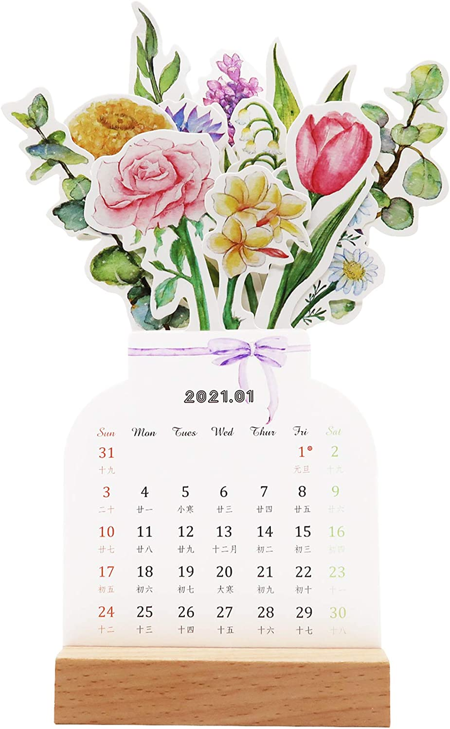 "2021 Creative Flower Desk Calendar, Vase Shaped New Year Monthly Calendar Planner 3.9""x 9.4"""