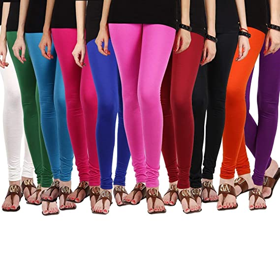 2ce81eca1a Churidar Leggings For Womens|Ladies|Girls|Cotton Lycra|Combo_Pack of  10_FreeSize(White,Green,Skyblue,Pink,Blue,Lightpink,Maroon ,Black,Orange,Purple.
