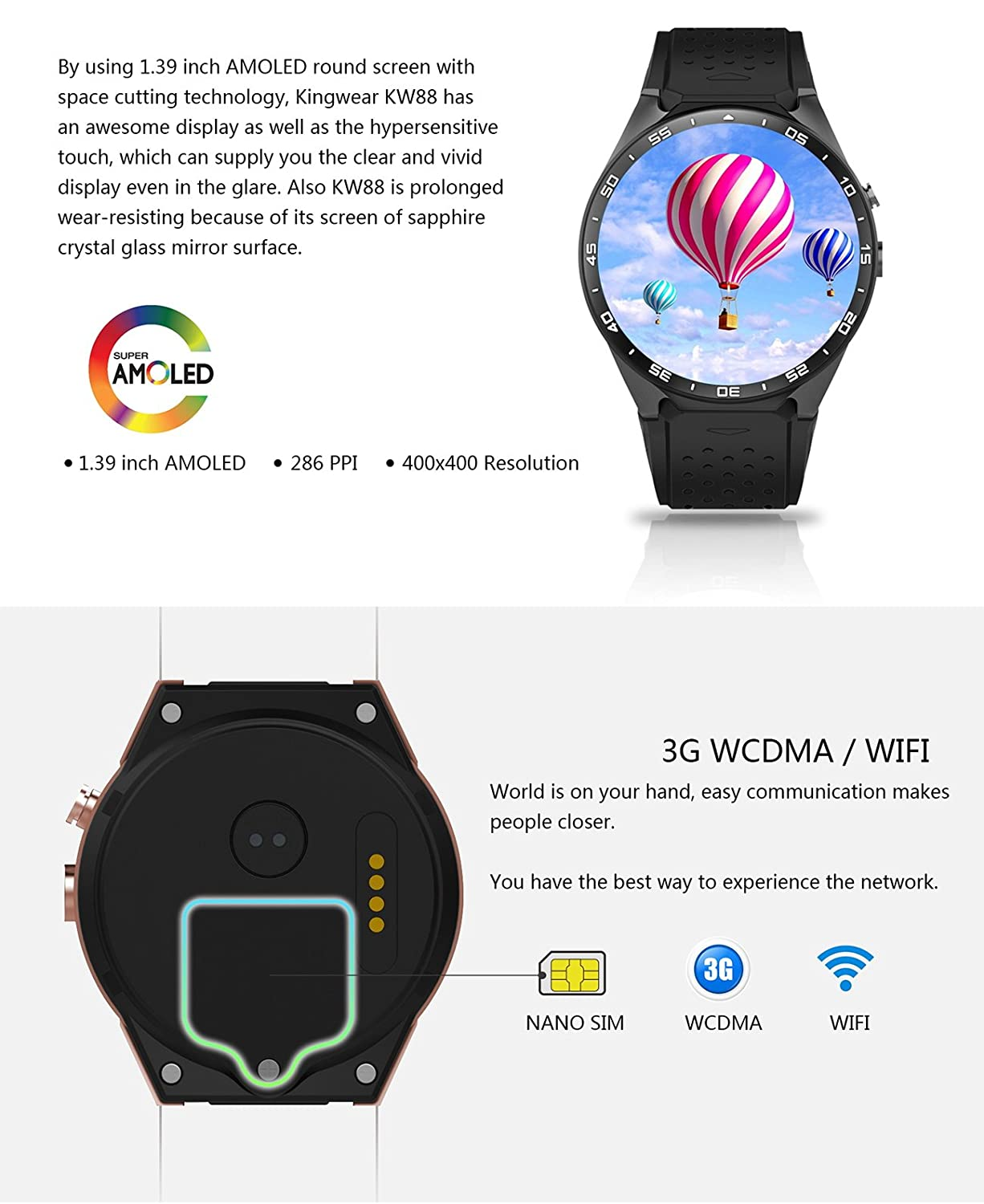 Kw88 Kingwear Smartwatch With 3g Quad Core Support 2 0mp Camera