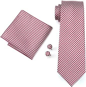 RXBGPZLD Corbatas Para Hombre Red Plaid Seda Jacquard Corbata ...