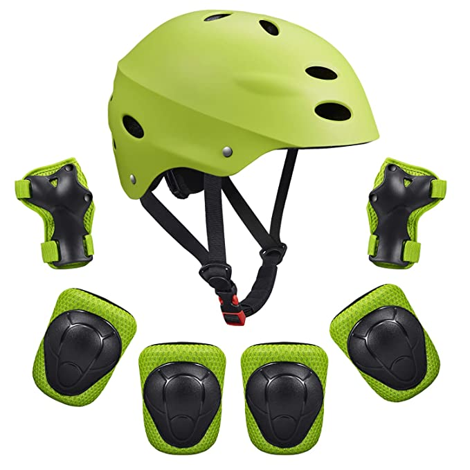 SKL Kid's Protective Gear Set Knee Pads for Kids Knee and Elbow Pads with Wrist Guards for Skating Cycling Bike Rollerblading Scooter (Helmet+Knee Pads+Elbow Pads+Wrist Pads)