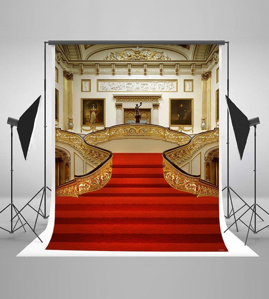 1.5x2.1m Fondo de la fotografía de la Escalera roja de la Tapa Fondo Libre de la Foto de la Pared del Castillo de Oro y de la Alfombra roja: Amazon.es: Electrónica