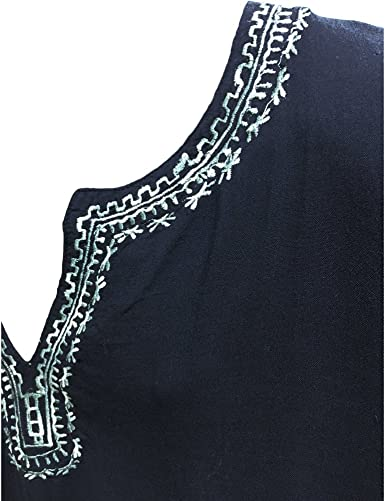 Tribal Embroidery Empire Deep V Neck from Rajasthan India \u2013 One Size \u2013 Dark Brown Cotton base SALE