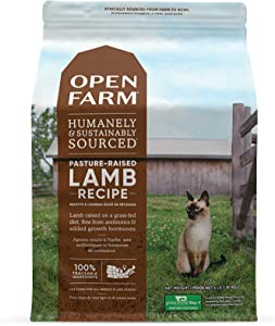Open Farm Pasture-Raised Lamb Grain-Free Dry Cat Food, Humanely Raised Lamb Recipe with Non-GMO Superfoods and No Artificial Flavors or Preservatives, 4 lbs