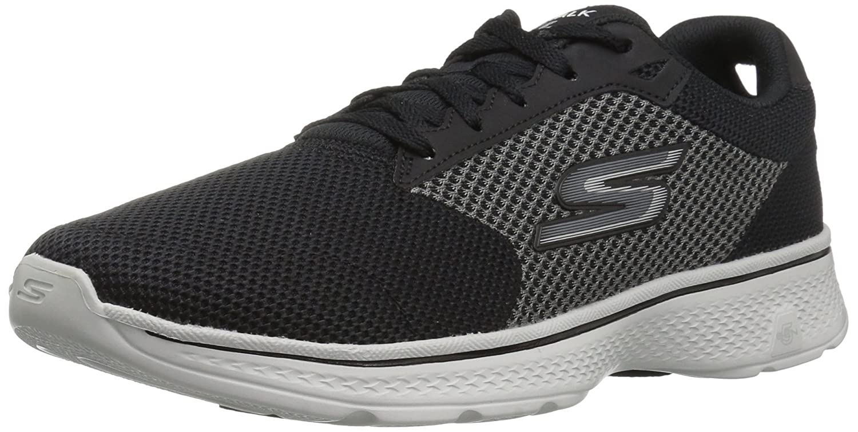 Skechers Performance Men's Go 4 54150 Walking Shoe, BlackGray Knit, 11 M US