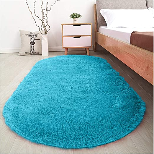 Amazon Com Softlife Fluffy Area Rugs For Bedroom 2 6 X 5 3 Oval Shaggy Floor Carpet Cute Rug For Girls Room Kids Room Living Room Home Decor Turquoise Blue Home Kitchen