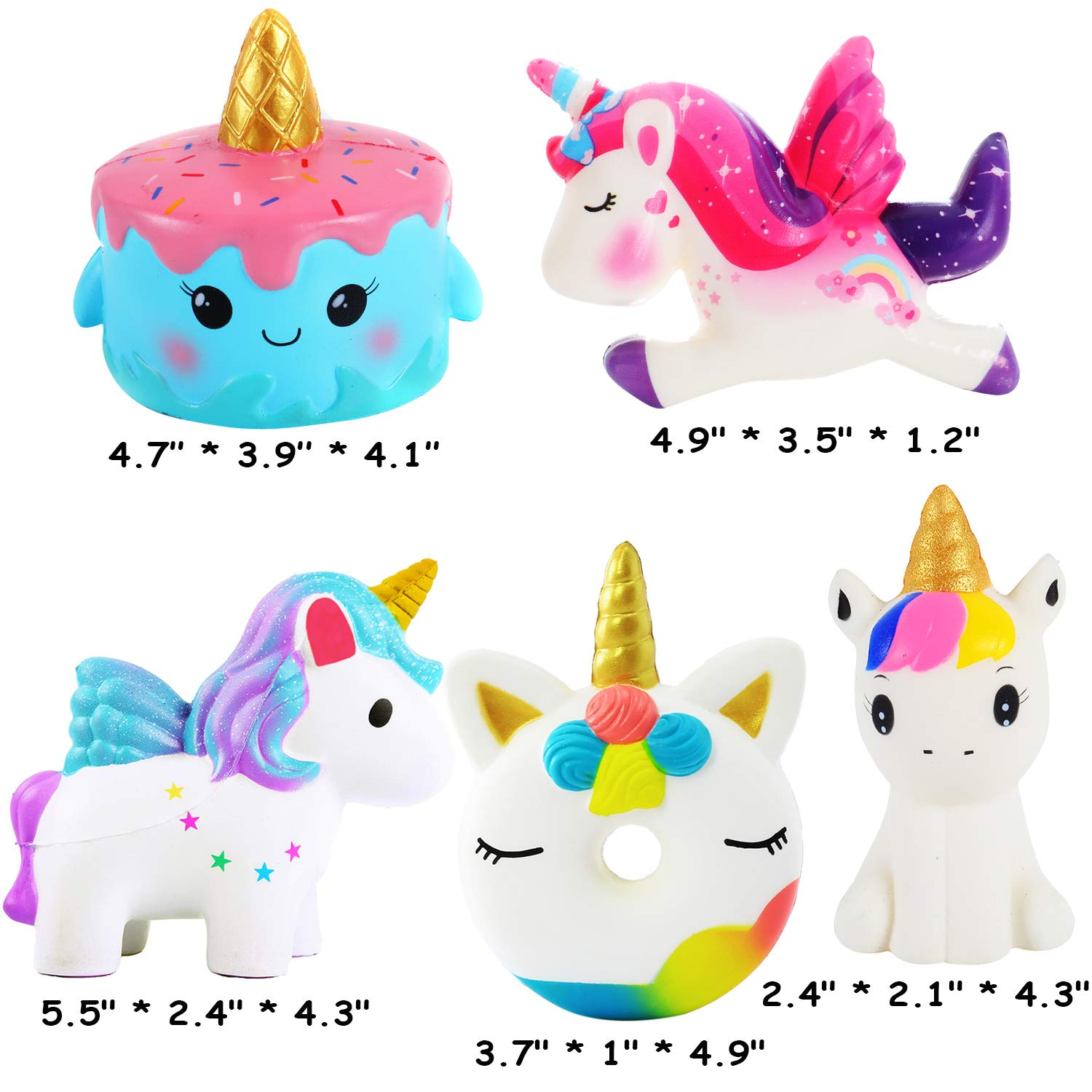 AOLIGE Kawaii Slow Rising Squishies Pack Unicorn Cake Donut Squishy Toys for Boys and Girls 5Pcs by AOLIGE (Image #2)