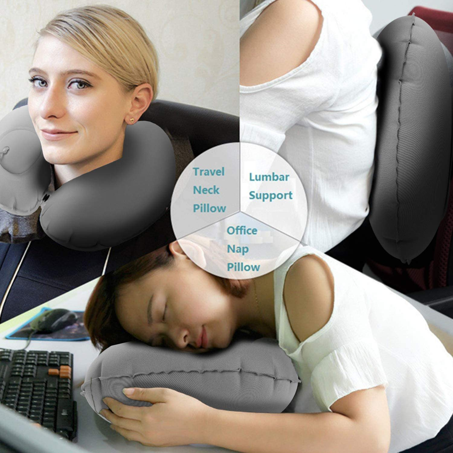 Air Neck Pillow Lightweight Stay Cool Fabric Self Pump Up Without Blowing Head and Neck Support in Airplane Travel U-1Pack-Press Type-Blue Inflatable Travel Pillow