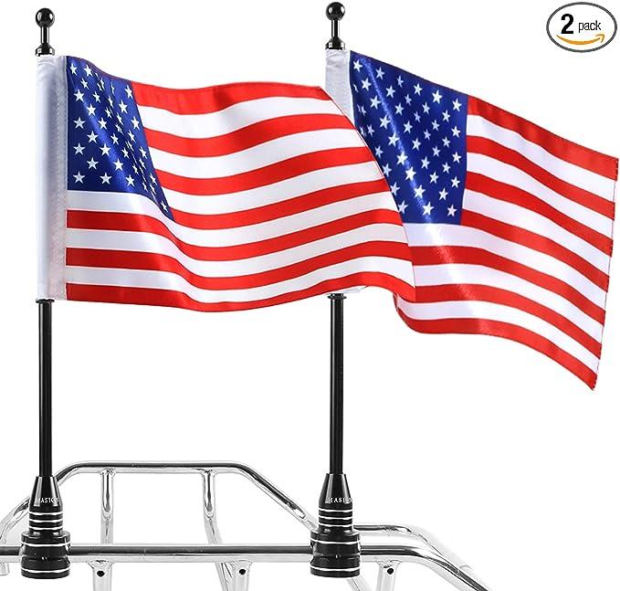 Motorbike UK//Skull//USA Flag Pole Mount for Harley Touring Road King Luggage Rack