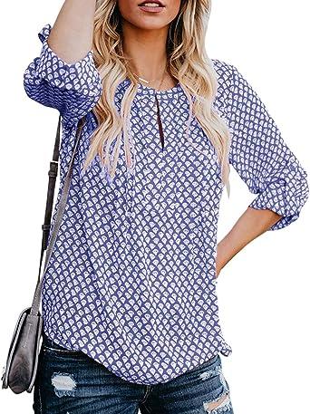 Damen Bluse V-Ausschnitt Freizeit Hemd Oberteile Langarmshirt Reißverschluss top