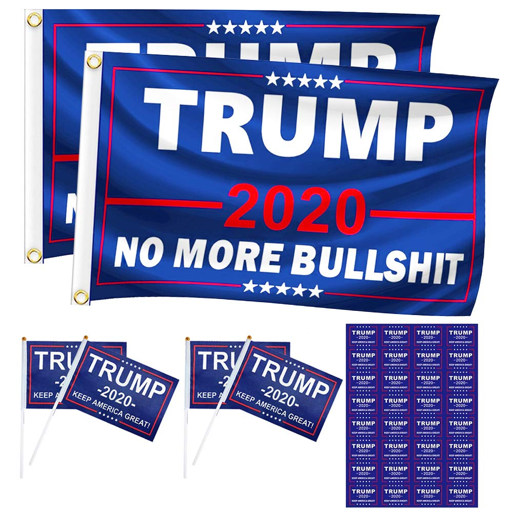 Trump 2020 No More BS Bullshit Blue Rough Tex 68D Nylon 2x3 2/'x3/' Flag Banner
