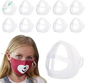 3D Mask Bracket for Kids - 10 Pack Face Mask Inner Support Frame with Hook & Loop, More Space for Comfortable Breathing Protect Lipstick Washable Reusable