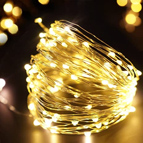 bright zeal solar christmas lights outdoor string lights 33 ft long silvery wire - Solar Powered Outdoor Christmas Decorations