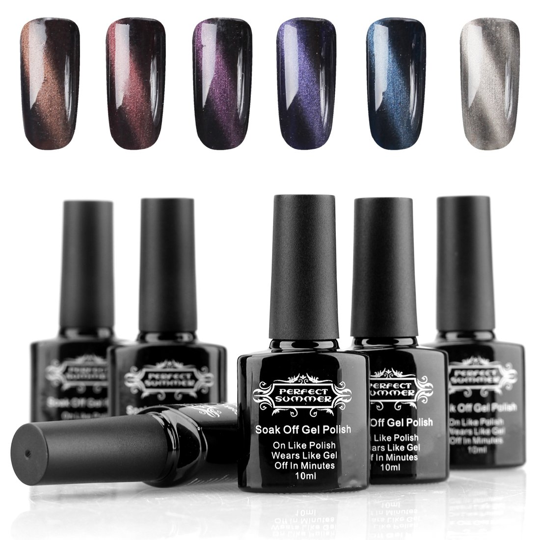 Perfect Summer Magnetic Gel Nail Polish 10ml UV LED Gel Nails 3D Cat Eye Effect Nail Art kits set 6 colors + 1PCS Free Magnet Stick + 1PCS Free Magic Pen #14 Shun Yan Cosmetics. Ltd.