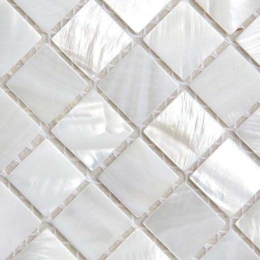Perlmutt Mosaikfliesen Flussbett Muschel Weiss Quadratische Fliesen 25 X 25 Mm Amazon De Kuche Haushalt