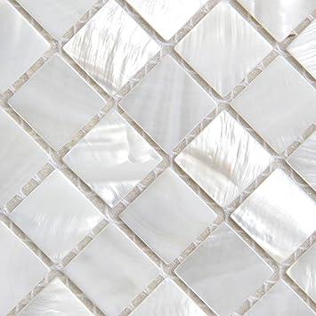 Perlmutt Mosaikfliesen Flussbett Muschel Weiss Quadratische