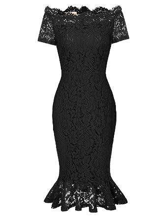 87c0df63090c5 Womens Elegant Flower Lace Party Mermaid Bodycon Sheath Dress S Black