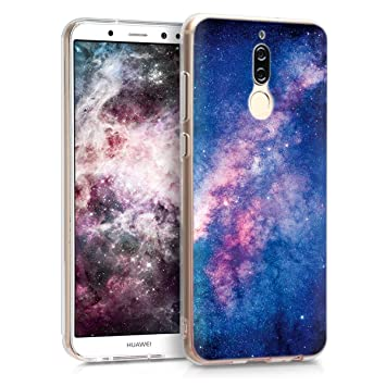 kwmobile Funda para Huawei Mate 10 Lite - Carcasa de TPU para móvil y diseño de Estrellas en la Galaxia en Rosa Claro/Rosa Fucsia/Azul Oscuro