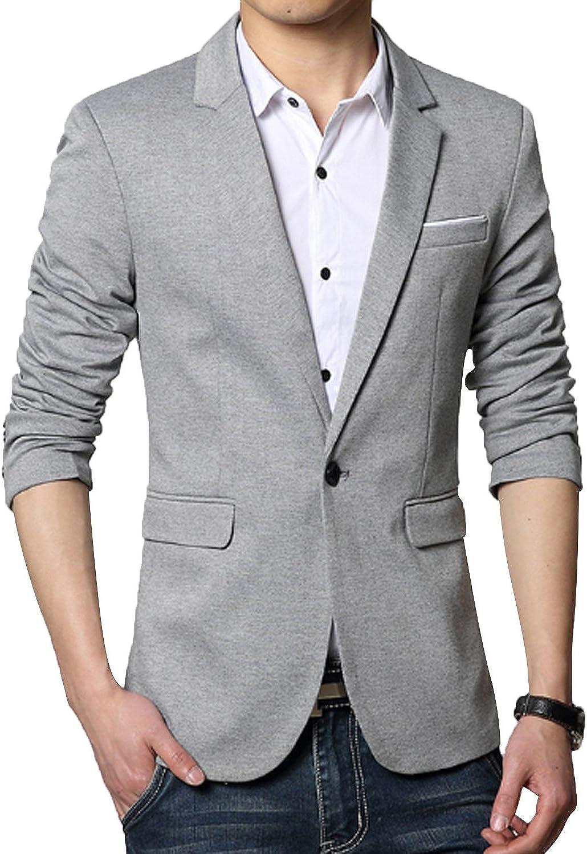 DAVID.ANN Mens Slim Fit Casual One Button Blazer Jacket