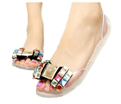 a2d01059b6a Image Unavailable. Image not available for. Color  Olive Tayl Women Sandals  Summer Style Bling Bowtie Jelly Shoes Woman Casual Peep Toe Sandal Crystal