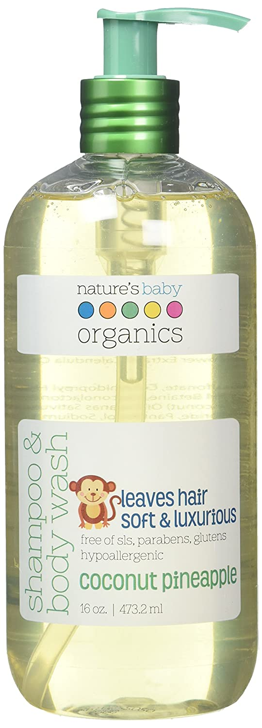 Nature's Baby Organics Shampoo & Body Wash, Coconut Pineapple, 16 oz. |Babies, Kids, & Adults! Natural, Moisturizing, Soft, Gentle, Rich, Hypoallergenic | No Chemicals, Parabens, SLS, Glutens Nature's Baby Organics NB-041
