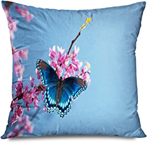 Onete Throw Pillow Cover Square 18x18 Inches Blue Spring Eastern Redbud Tree Blooming Red Spotted Animals Wildlife Flower Nature Pea Purple Sky Decorative Pillowcase Home Decor Cushion Pillow Case
