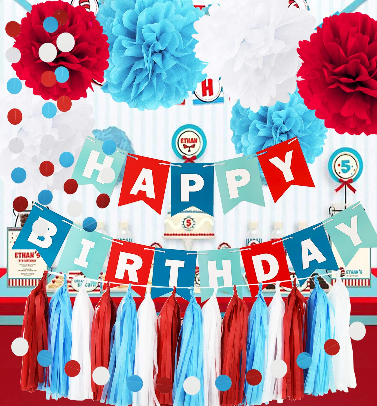 Qian's Party Dr Seuss Cat in The Hat Birthday Party Decorations/Dr Suess Decor Thing 1 and Thing 2 Decorations Turquoise White Red Happy Birthday Banner Airplane Birthday Decorations by Qian's Party (Image #1)